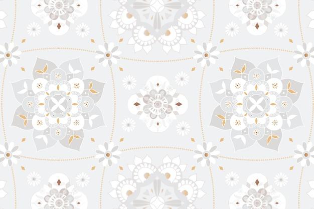 Fondo de patrón indio botánico gris mandala
