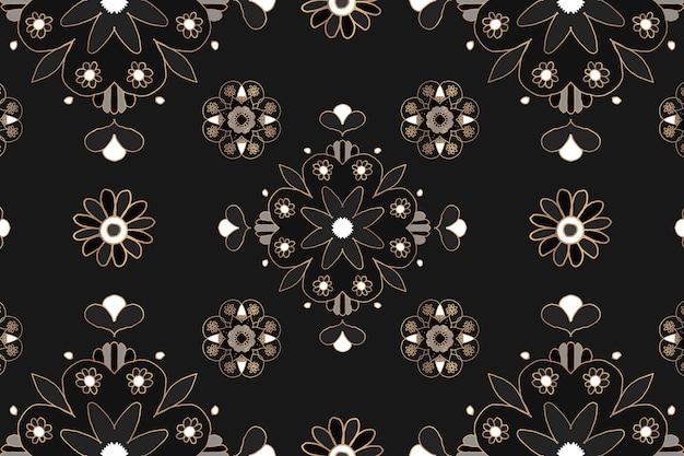 Fondo de patrón indio botánico negro mandala