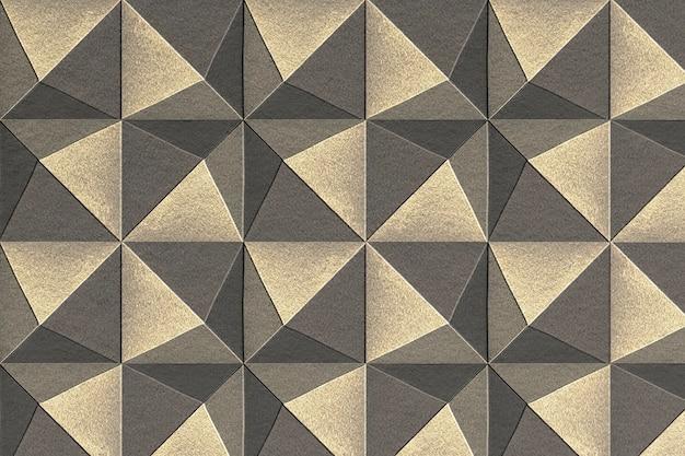 Fondo de patrón de pentaedro artesanal de papel plateado y dorado 3d