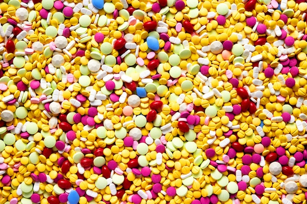 Fondo de las píldoras de la farmacia de la medicina para el concepto médico de la atención sanitaria, visión superior