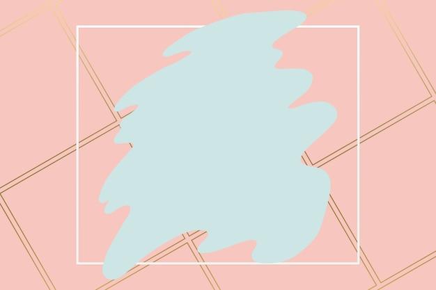 Fondo de pincel gris pastel abstracto con marco geométrico cuadrado de color blanco. fondo de logo de belleza y moda.