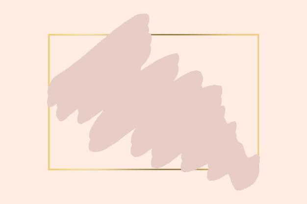 Fondo de pincel rosa pastel abstracto con marco geométrico cuadrado de color dorado. fondo de logo de belleza y moda.