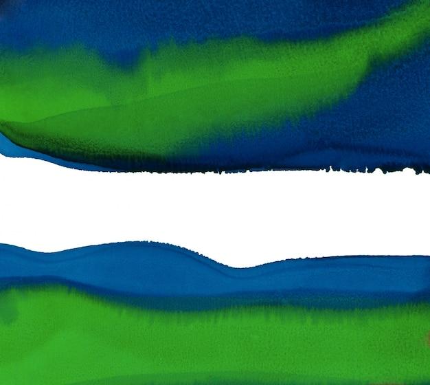 Fondo de pintura abstracta de la mano. fondo abstracto azul y verde