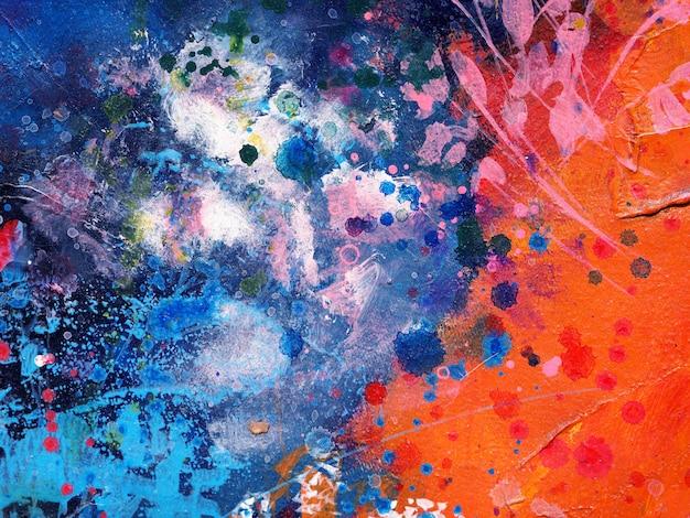 Fondo de pintura azul acrílico abstracto.