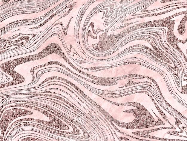Fondo de pintura de mármol líquido con textura de brillo de polvo de oro rosa de onda