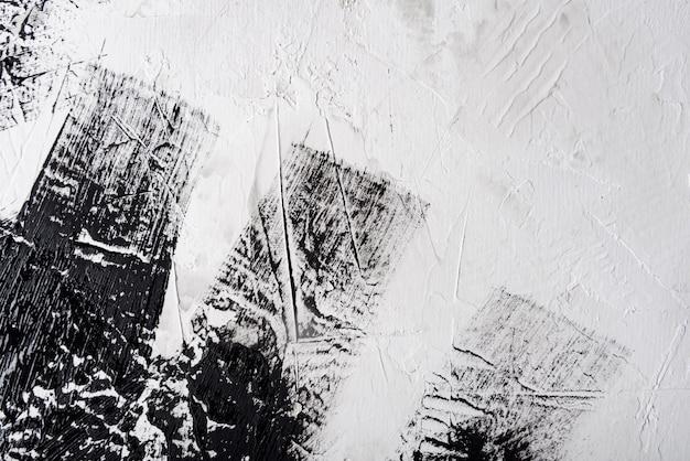 Fondo de pintura de trazo de pincel blanco y negro abstracto