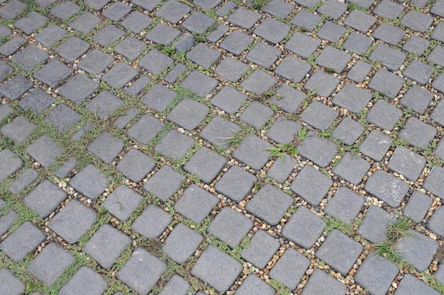 Fondo de piso de piedra calzada de ladrillo.