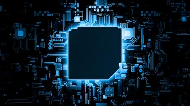 Fondo de placa de circuito azul brillante