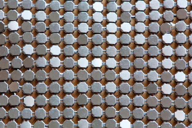 Fondo de placa de diamante de metal en color plateado