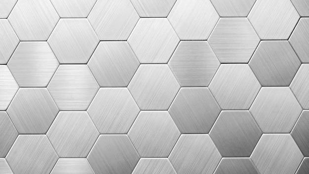 Fondo plateado abstracto con hexágonos