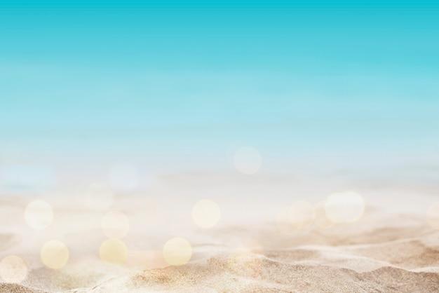 Fondo de playa de verano rodado en estilo bokeh