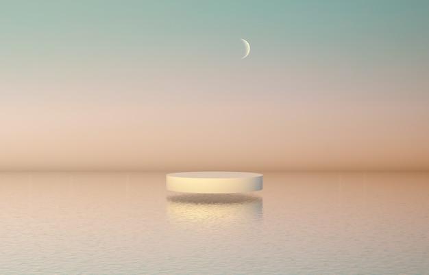Fondo de podio de belleza natural con caja cilíndrica para exhibición de productos cosméticos.