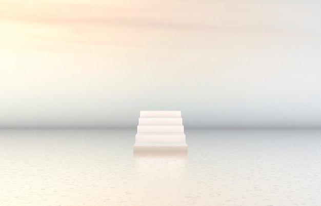 Fondo de podio de belleza natural con escalera blanca para exhibición de productos cosméticos.