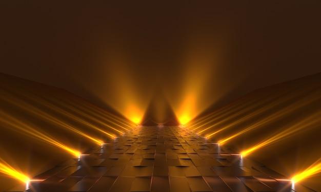 Fondo de podio oscuro vacío con luces amarillas. representación 3d