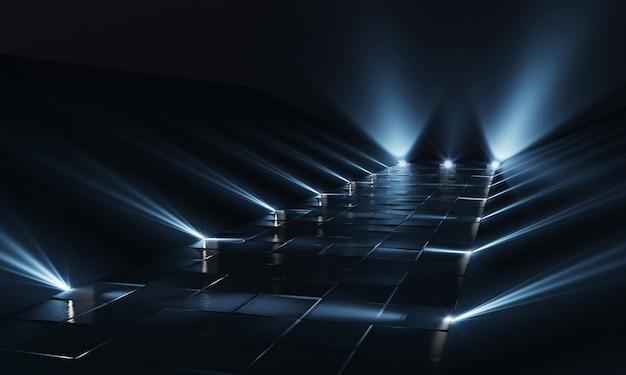 Fondo de podio oscuro vacío con luces azules y piso de baldosas. representación 3d