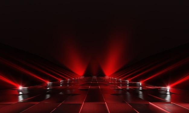 Fondo de podio rojo oscuro vacío con luces y piso de baldosas. representación 3d