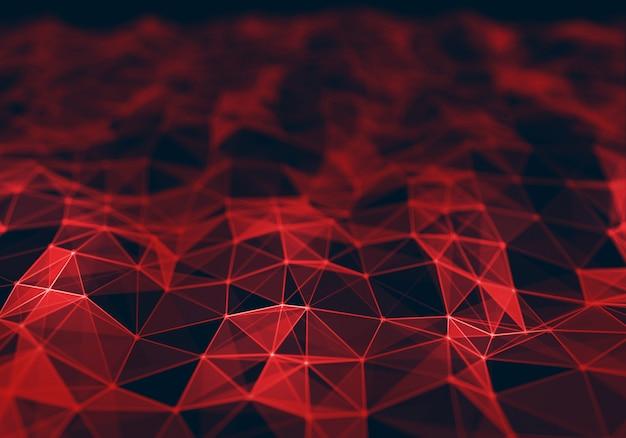 Fondo poligonal abstracto rojo oscuro bajo poli