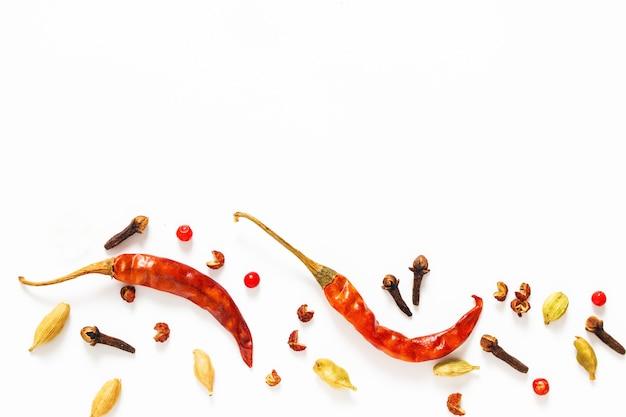 Fondo de presentación de especias de alimentos chiles secos rojos y diversas especias exóticas sobre fondo blanco