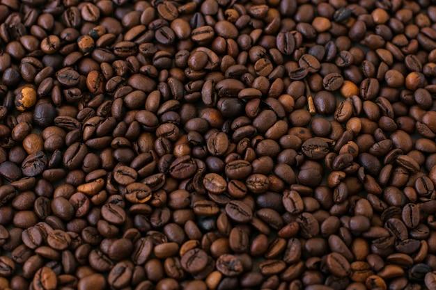 Fondo de primer plano de granos de café
