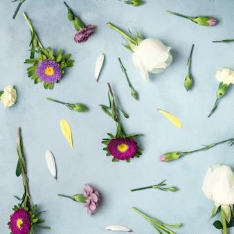 Fondo de primer plano con margaritas y flores rosas