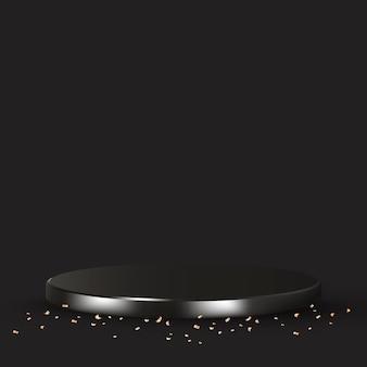 Fondo de producto 3d de lujo en negro con confeti dorado