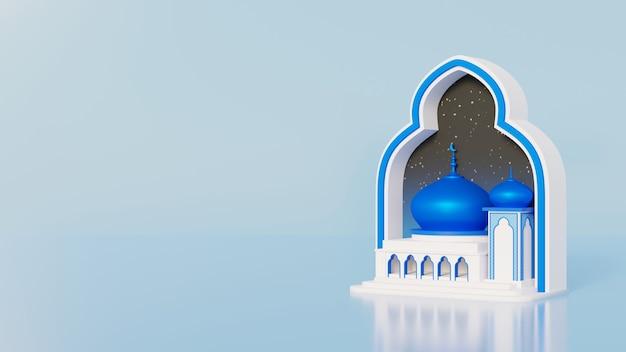 Fondo de ramadán mubarak con mezquita de cúpula azul