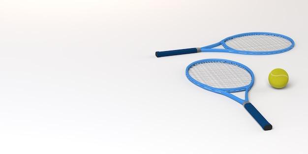 Fondo con raquetas y pelota de tenis deporte y fitness después del trabajo ejercicio en el gimnasio