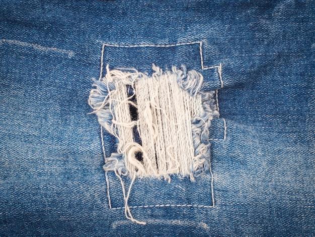 Fondo rasgado de la textura de los tejanos, concepto de la moda