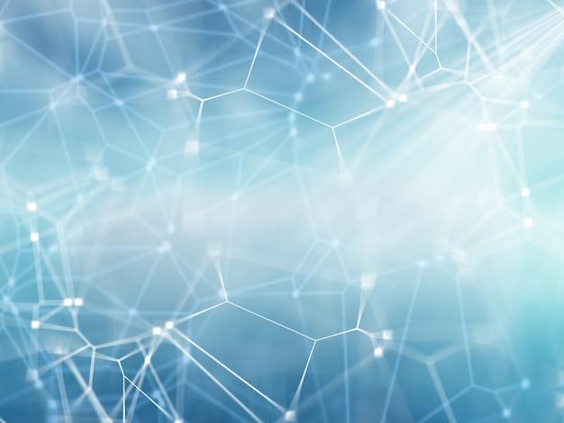 Fondo de red 3d con líneas y puntos de conexión.