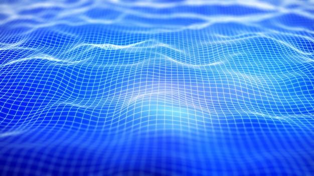 Fondo de red digital 3d con rejilla que fluye