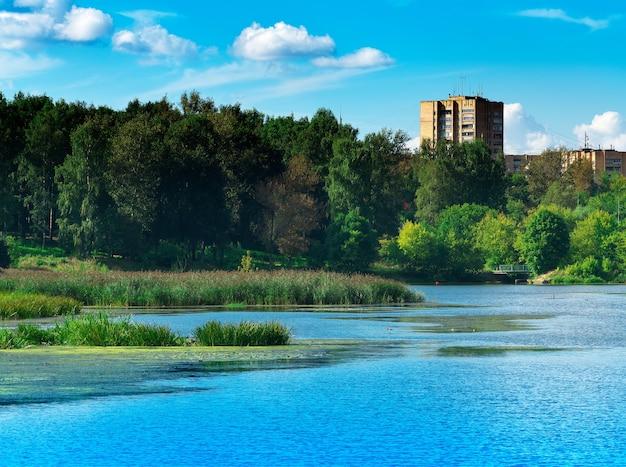 Fondo de reflexiones de río de verano dramático