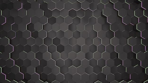 Fondo de rejilla hexagonal negro oscuro, fondo abstracto. ilustración 3d de estilo elegante y de lujo para negocios y plantillas corporativas