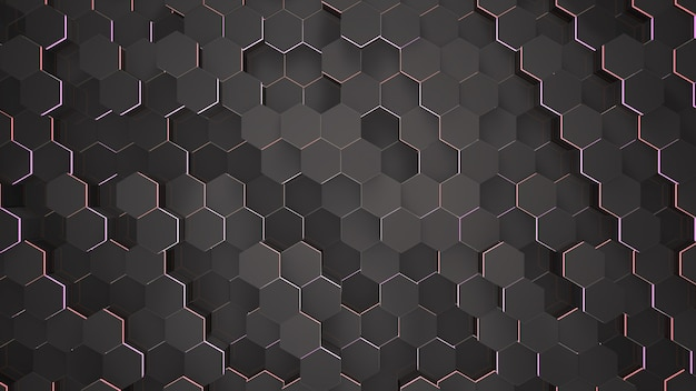 Fondo de rejilla hexagonal negro pequeño oscuro, fondo abstracto. ilustración 3d de estilo elegante y de lujo para negocios y plantillas corporativas