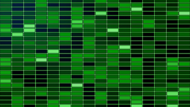 Fondo de rejilla de resplandor colorido verde creativo abstracto. azulejos, cuadrados con brillo.