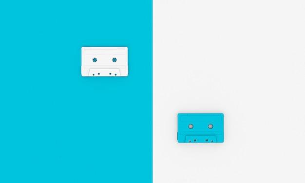Fondo de render 3d de un grupo de cintas de audio vintage