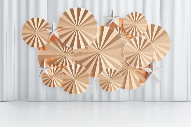 Fondo de renderizado 3d. diseño de ventilador de japón de círculo de oro blanco sobre fondo de cortina blanca. imagen para presentación.