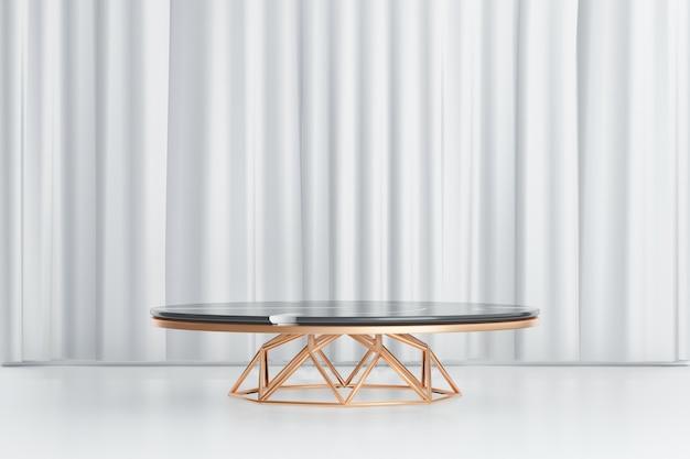 Fondo de renderizado 3d. mesa de cilindro de oro negro de mármol con soporte de diseño de curva de tubo de línea dorada sobre fondo de cortina blanca. imagen para presentación.