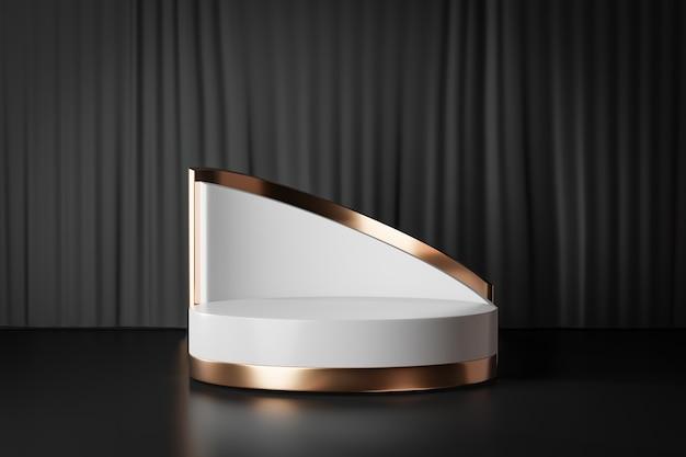 Fondo de renderizado 3d. podio de escenario de cilindro blanco dorado con pared curva de oro blanco sobre fondo de cortina negra. imagen para presentación.