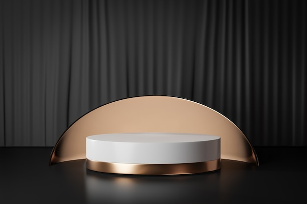 Fondo de renderizado 3d. podio de escenario de cilindro blanco dorado con pared de oro de círculo redondo sobre fondo de cortina negra. imagen para presentación.