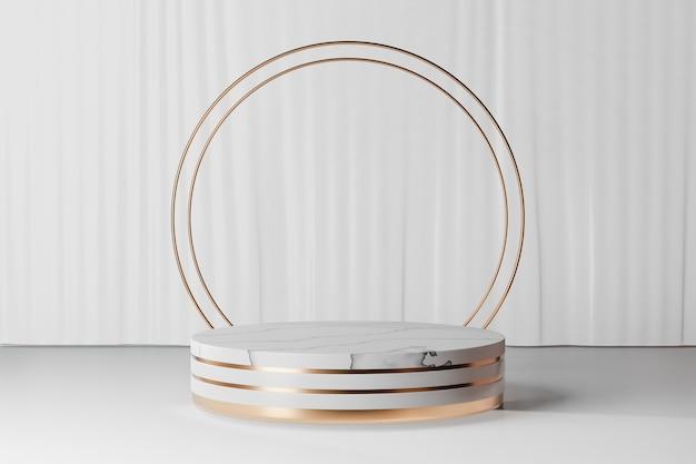 Fondo de renderizado 3d. podio de escenario de cilindro de oro blanco de mármol con pared de oro de dos anillos sobre fondo de cortina blanca. imagen para presentación.