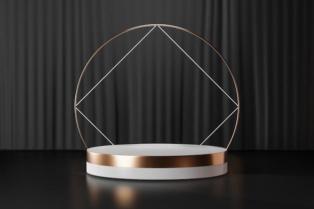 Fondo de renderizado 3d. podio de escenario de cilindro de oro blanco con pared de oro de anillo cuadrado sobre fondo de cortina negra. imagen para presentación.