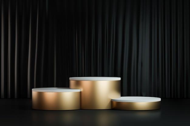 Fondo de renderizado 3d. podio de escenario de tres cilindros de oro sobre fondo de cortina negra. imagen para presentación.