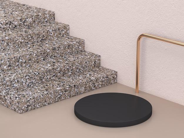 Fondo de representación 3d abstracto mínimo de forma de mármol negro marrón