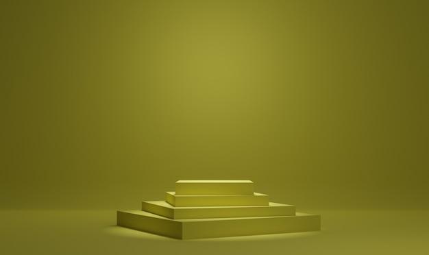 Fondo de representación 3d de podio mínimo amarillo