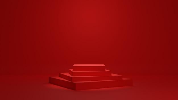 Fondo de representación 3d de podio mínimo rojo