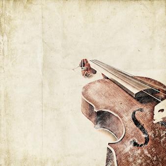 Fondo retro con violín viejo