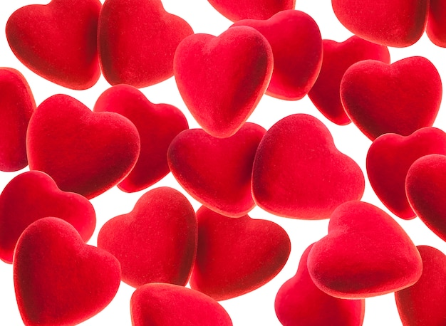 Fondo rojo con corazones.