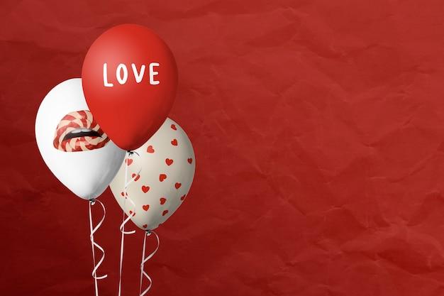 Fondo rojo de globos de celebración de san valentín