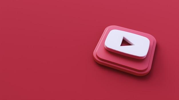 Fondo rojo con el icono de youtube representación 3d