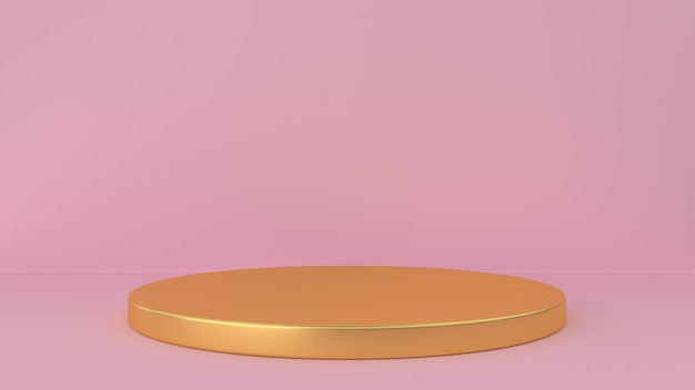 Fondo rosa de estudio y pedestal. plataforma para exhibición de productos de belleza.